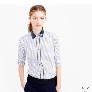 J. Crew Perfect shirt in stripe w/ sequin collar